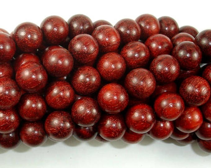 Red Sandalwood Beads, 10mm Round Beads, 42 Inch, Full strand, Approx 108 Beads, Mala Beads (011733005)