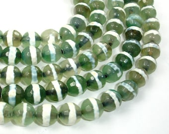 Tibetan Agate Beads, 10mm (9.5 mm) Faceted Round, 14 Inch, Full strand, Approx 37 beads, Hole 1 mm (122025246)