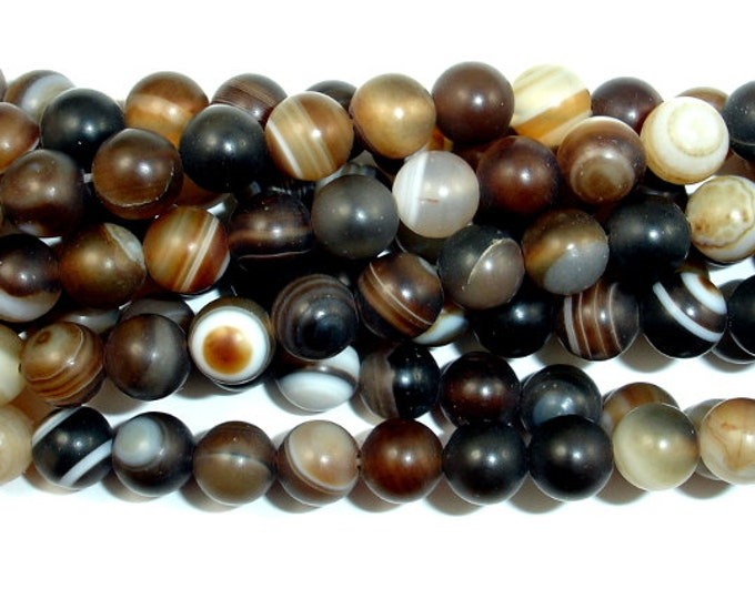 Matte Banded Agate Beads, 6 mm Round Beads, 15.5 Inch, Full strand, Approx 63 beads, Hole 1 mm (132054009)