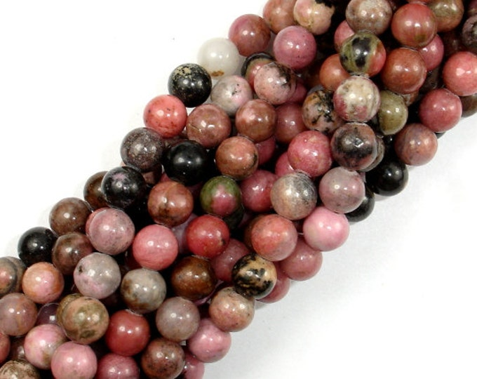 Rhodonite Beads, Round, 6mm (6.5mm), 15.5 Inch, Full strand, Approx 62 beads, Hole 1mm, A quality (386054002)