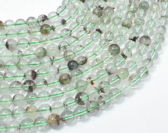 Phantom Quartz, Lodolite Quatz, 6mm (6.7mm) Round Beads, 16 Inch,Full strand, Approx 60-62 beads, Hole 1mm (343054005)
