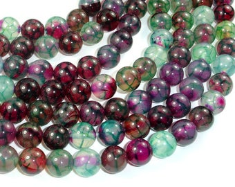 Dragon Vein Agate Beads, Green & Fuchsia, 10mm(10.4mm) Round Beads, 15 Inch, Full strand, Approx 38 beads, Hole 1mm, A quality (122054227)