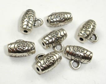 Metal Bails Beads, Zinc Alloy, Antique Silver Tone, 11x6mm, 20 pcs, Loop Hole 2mm, Bead Hole 1.4mm (006873081)