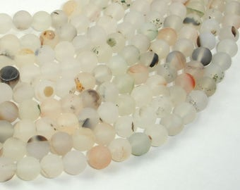 Frosted Matte Agate-White, Gray, 8mm Round Beads, 15 Inch, Full strand, Approx 47 beads, Hole 1 mm (122054230)