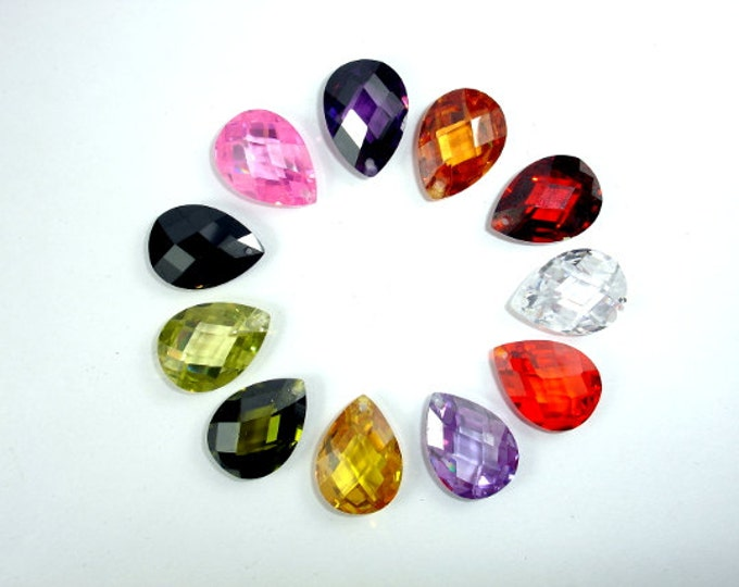 CZ beads, Cubic Zirconia Beads, 13x18mm Faceted Pear Briolette Pendant Beads, 1 piece, Hole 1mm, A Grade (PS1318)