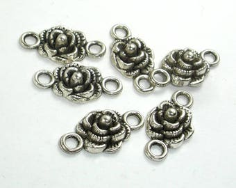 Metal Links, Flower Connector Links, Zinc Alloy, Antique Silver Tone, 10x19xmm, 16 pcs, Hole 2.4mm (006864005)