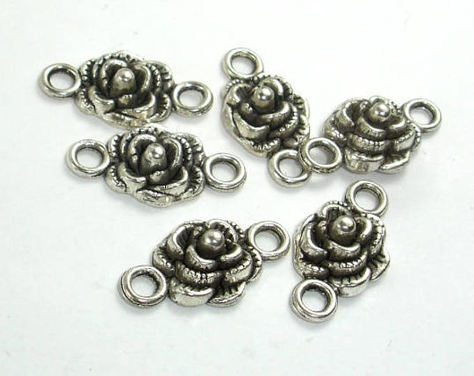 Metal Links, Flower Connector Links, Zinc Alloy, Antique Silver Tone, 10x19xmm, 20 pcs, Hole 2.4mm (006864005)