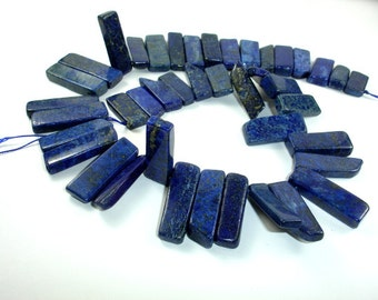 Lapis Lazuli Beads, Stick, Slice, Top Drilled, Graduated beads, Approx(8-10) mm x (18-38) mm, 16 Inch, Approx 42 beads, Hole 1mm (298059002)
