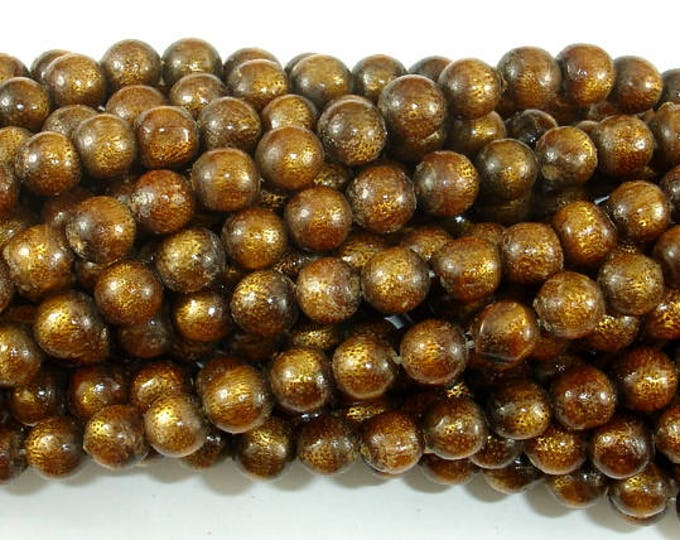 Gold Coral Beads, 6mm Round Beads, 15 Inch, Full strand, Approx 60 beads, Hole 0.8mm (236054002)