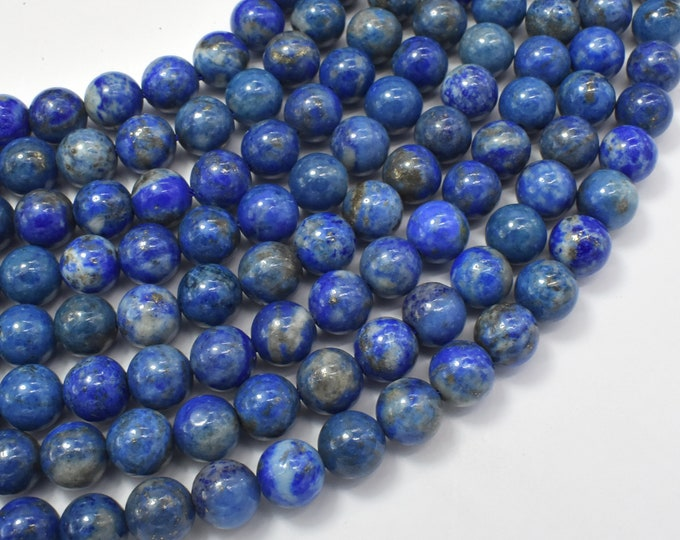 Natural Lapis Lazuli, 8mm (8.5mm) Round Beads, 15.5 Inch, Full strand, Approx 46-48 beads, Hole 1mm (298054013)