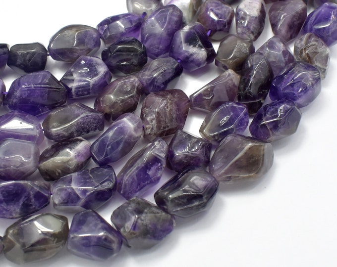 Amethyst, Approx 12 x 18mm Faceted Nugget Beads, 15.5 Inch, Full strand, Approx 23-25 beads, Hole 1mm (115047017)