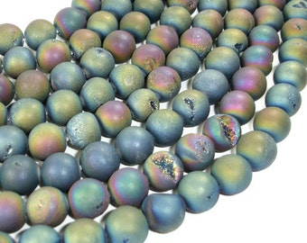 Druzy Agate Beads, Geode Beads, Matte Peacock, Approx 12 mm, 16 Inch, Full strand, Approx 33 beads, Hole 1.2 mm (122054149)