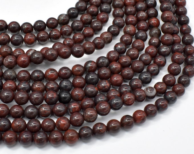 Brecciated Jasper Beads, Round, 6mm (6.5mm), 15 Inch, Full strand, Approx 61 beads, Hole 1mm (334054002)