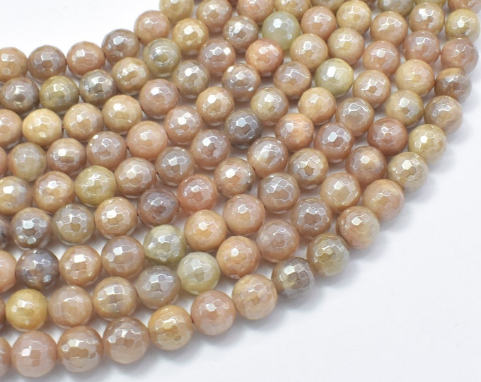 Mystic Coated Sunstone, 8mm Faceted Round Beads, AB Coated, 15 Inch, Full strand, Approx 47 beads, Hole 1mm (418025001)