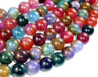 Dragon Vein Agate Beads, Multi-colored, 14mm Round Beads, 15 Inch, Full strand, Approx 28 beads, Hole 1.2mm (122054216)