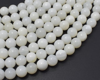 White Mother of Pearl Beads, MOP, 8mm (8.3mm) Round Beads, 15.5 Inch, Full strand, Approx 49 beads, Hole 1mm (325054006)