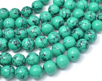 Howlite Turquoise Beads-Green, 12mm Round Beads, 16 Inch, Full strand, Approx 34 beads, Hole 1.2mm, A quality (214054011)