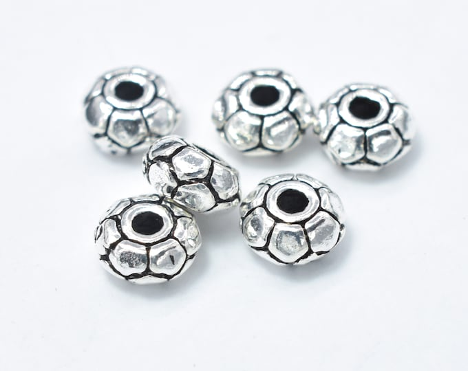 8pcs 925 Sterling Silver Beads-Antique Silver, 5mm Rondelle Beads, Spacer Beads, 5x2.4mm Hole 1.4mm (007903010)