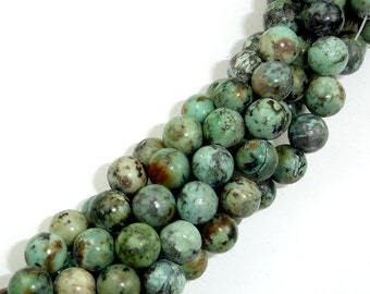 African Turquoise Beads, 8mm(8.4mm) Round, 15.5 Inch, Approx 47 beads, Hole 1 mm, A quality (110054003)