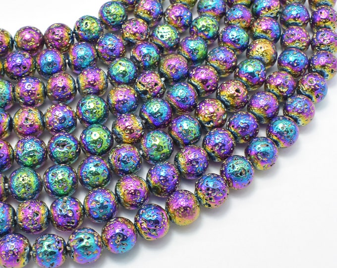 Lava-Rainbow Plated, 8mm (8.7mm) Round Beads, 15.5 Inch, Full strand, Approx 47 beads, Hole 1mm (300054060)