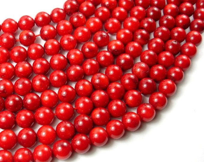 Red Bamboo Coral Beads, 8mm(8.5mm) Round Beads, 15.5 Inch, Full strand, Approx 48-50 beads, Hole 0.8 mm (368054024)