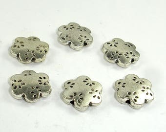 Flower Spacer, Flower Beads, Metal Spacer, Zinc Alloy, Antique Silver Tone, 13x3.5mm, 10 pcs, Hole 1.7mm (006852017)