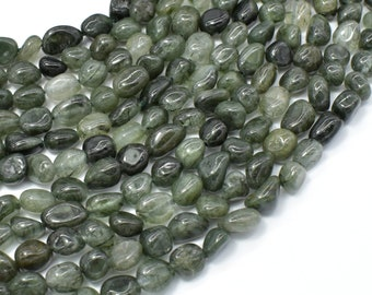 Green Rutilated Quartz Beads, Approx 6x8mm Nugget Beads, 15.5 Inch,Full strand, Approx 48-52 beads, Hole 1mm (396047002)