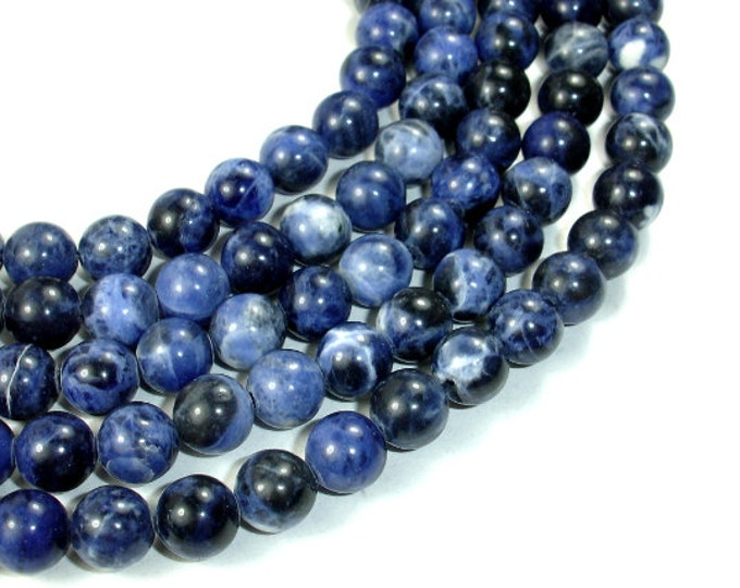 Sodalite Beads, Round, 8mm (8.5mm), 15.4 Inch, Full strand, Approx 46 beads, Hole 1 mm, A quality (411054003)