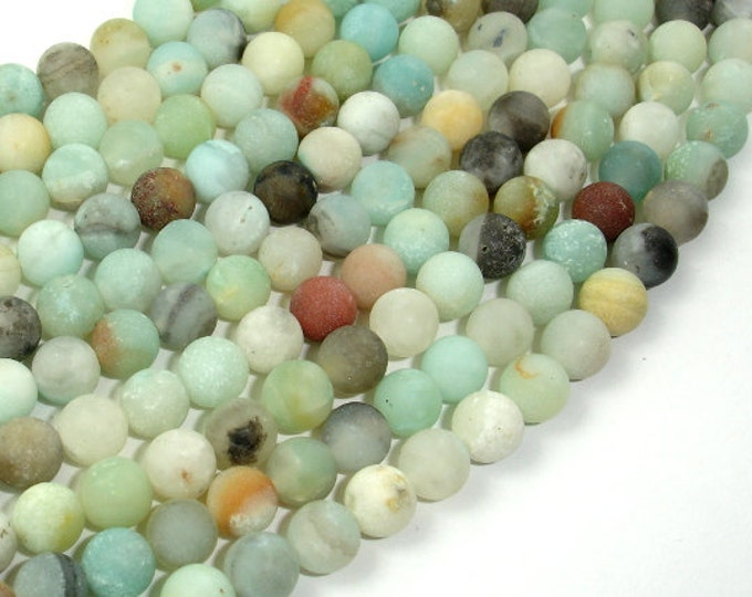 Matte Amazonite Beads, 6mm(6.6mm) Round Beads, 15 Inch, Full strand, Approx 61 beads, Full strand, Hole 1 mm, A quality (111054026)