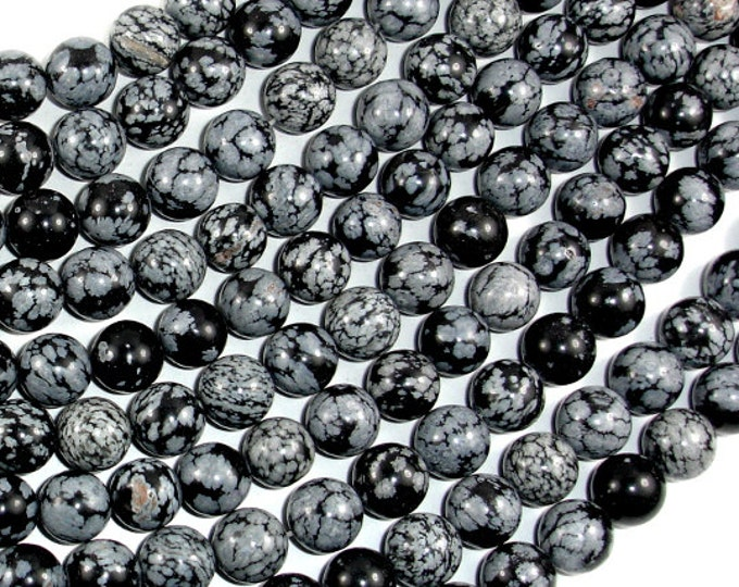 Snowflake Obsidian Beads, Round, 10mm ( 10.4 mm), 15.5 Inch, Full strand, Approx 38 beads, Hole 1 mm (410054006)