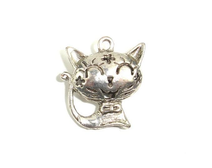 Metal Charms - Animal Kitty Pendant, Zinc Alloy, Antique Silver Tone, 2pcs, 22 x24mm, Hole 2 mm (006868007)