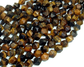 Tiger Eye, 8mm (7.5mm) Star Cut Faceted Round, 14.5 Inch, Full strand, Approx 46 beads, Hole 1mm (426186002)