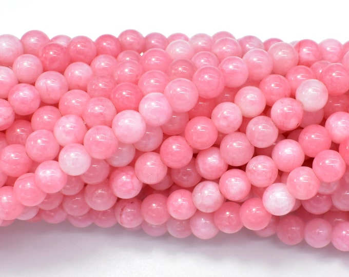 Jade Beads-Pink, 6mm Round Beads, 15 Inch, Full strand, Approx 65 beads, Hole 1mm (211054185)