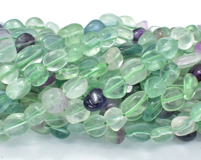 Fluorite Beads, Approx 6x8mm Nugget Beads, 15.5 Inch,Full strand, Approx 48-50 beads, Hole 1mm (224047007)