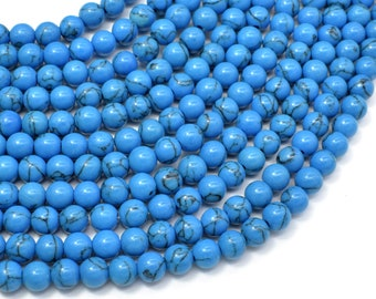 Howlite Turquoise Beads, Blue, 6mm Round Beads, 15.5 Inch, Full strand, Approx 63 beads, Hole 1mm (213054020)