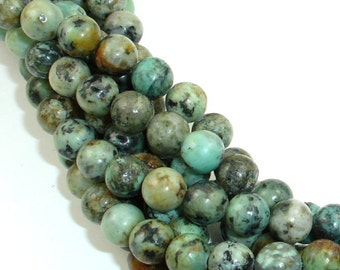 African Turquoise Beads, Round, 6mm (6.7mm), 15 Inch, Approx 58 beads, Hole 1mm (110054002)