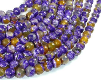Agate Beads, Purple & Yellow, 8mm Faceted Round Beads, 15 Inch, Full strand, Approx 48 beads, Hole 1mm (122025314)