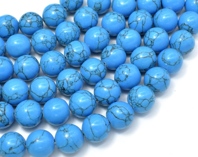 Howlite Turquoise Beads, Blue, 12mm Round Beads, 17 Inch, Full strand, Approx 38 beads, Hole 1.2mm (213054023)