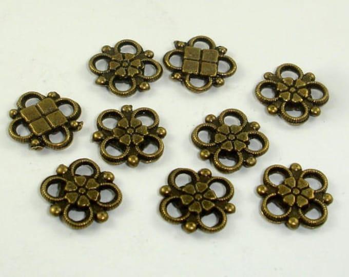 Metal Links, Flower Links, Connector Links, Zinc Alloy, Antique Brass Tone, 10x10xmm, 30 pcs (006864004)