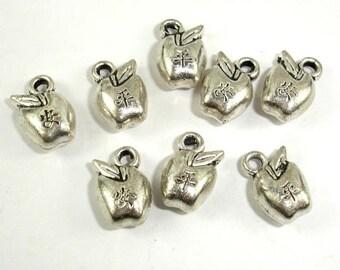 Apple Charms, Zinc Alloy, Antique Silver Tone, 7.5x12 mm, 20 pcs, Hole 1.7mm (006873040)