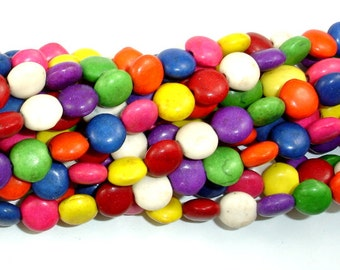 Howlite Beads, Multicolored, Coin, 8 mm, 16 Inch, Full strand, Approx 54 beads, Hole 1 mm (275008003)