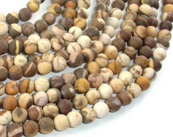 Matte Brown Zebra Jasper Beads, 6mm(6.4mm) Round Beads, 15.5 Inch, Full strand, Approx 64 beads, Hole 1 mm, A quality (173054009)