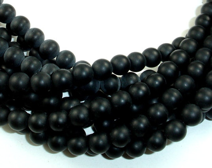 Matte Black Onyx, 6mm Round beads , 16 Inch, Full strand, Approx 66 beads, Hole 1 mm, A quality (140054017)