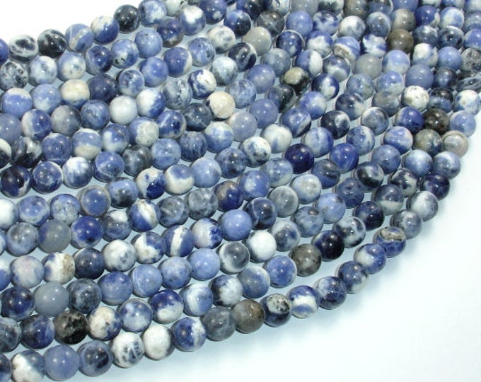 Sodalite Beads, 6mm (6.5mm) Round Beads, 15.5 Inch, Full strand, Approx 62 beads, Hole 1mm (411054011)
