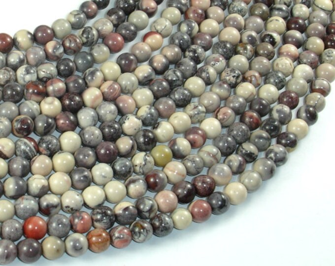 Porcelain Jasper, 6mm(6.3mm) Round Beads, 15.5 Inch, Full strand, Approx 65 beads, Hole 0.8mm, A quality (399054002)