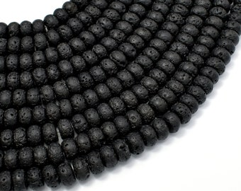 Black Lava Beads, 4x6mm Rondelle Beads, 15.5 Inch, Full strand, Approx 94 beads, Hole 0.8mm (300053001)