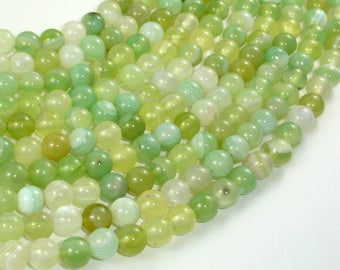 Banded Agate Beads, Light Green, 6mm Round Beads, 15 Inch, Full strand, Approx 62 beads, Hole 1mm, A quality (132054037)