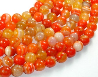 Banded Agate Beads, Orange, 10mm(10.5mm) Round Beads, 15.5 Inch, Full strand, Approx 38 beads, Hole 1mm (132054051)