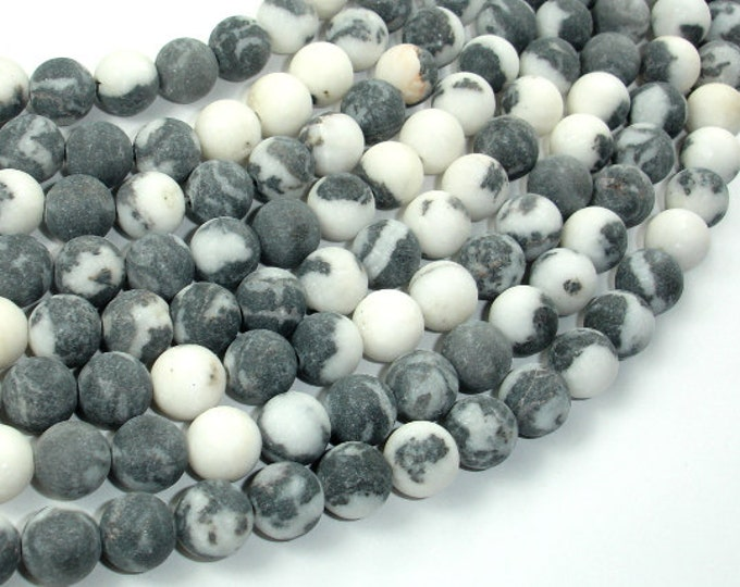 Matte Zebra Jasper Beads, 8mm (8.6 mm) Round Beads, 15.5 Inch, Full strand, Approx 47 beads, Hole 1 mm, A quality (445054008)