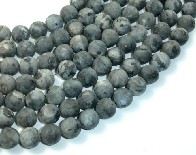 Matte Black Labradorite Beads, Matte Larvikite, 10mm Round Beads, 15.5 Inch, Full strand, Approx 39 beads, Hole 1 mm (137054009)